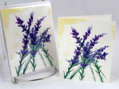 lavender stems note cards