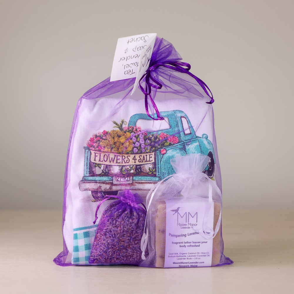 tea towel,lavender sachet,soap