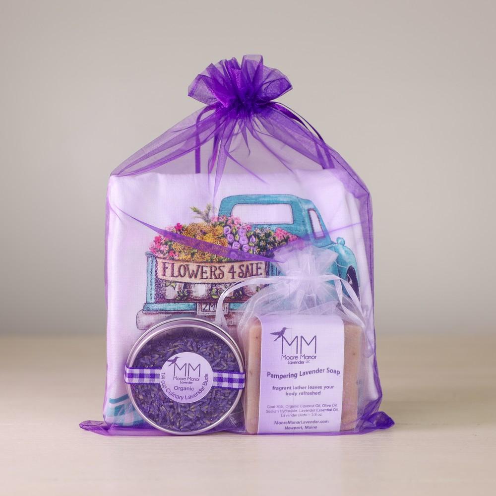 tea towel, soap, lavender buds
