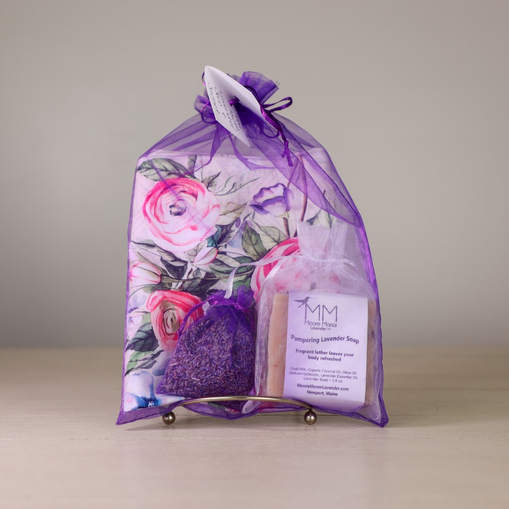 tea towel, lavender soap, sachet